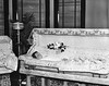 An unidentified woman in a coffin at a funeral parlor in Grafton, West Virginia.