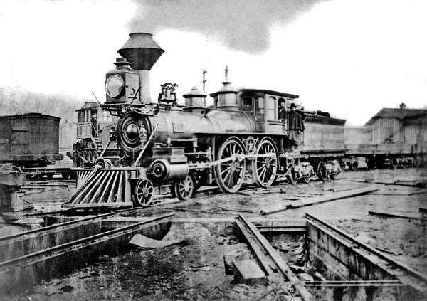 Steam Locomotive, Grafton, W. Va.<br /> Date 1875 - 'James Rowland, Pilot.'