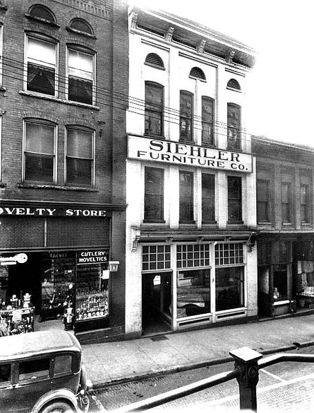 Siehler Furniture Co., is next to the Novelty Store on Latrobe Street in Grafton, West Virginia.