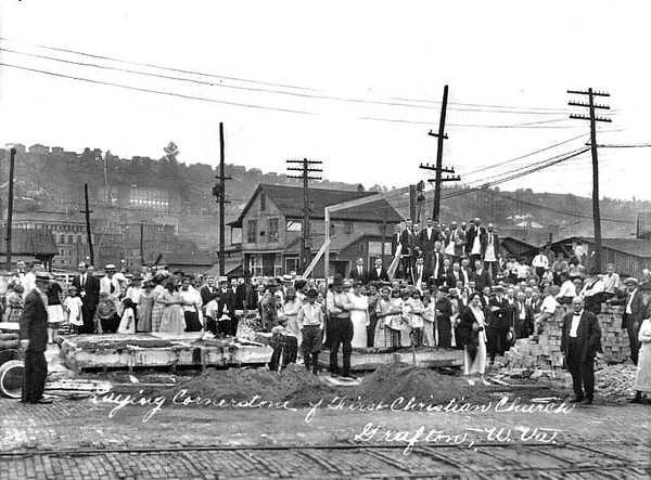 Laying Cornerstone of the First Christian Church, Grafton, WV 1920-30.