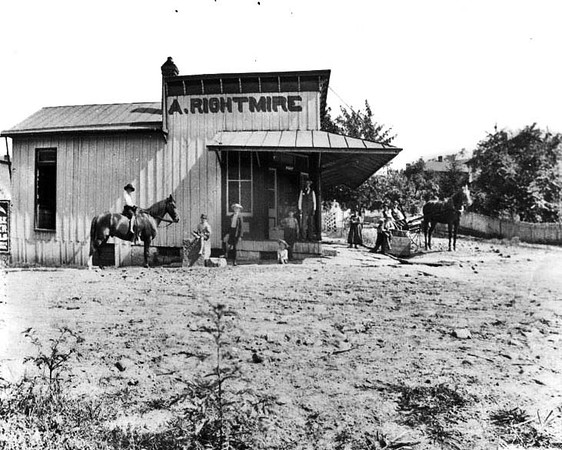 Customers in Front of A. Rightmire Store near Grafton in Taylor County, W. Va.<br /> Date ca. 1890