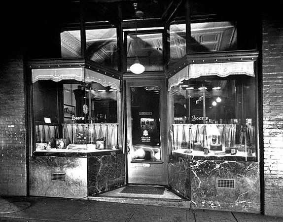 Entrance and window displays of Loar's Jewelry Store in Grafton, W. Va.