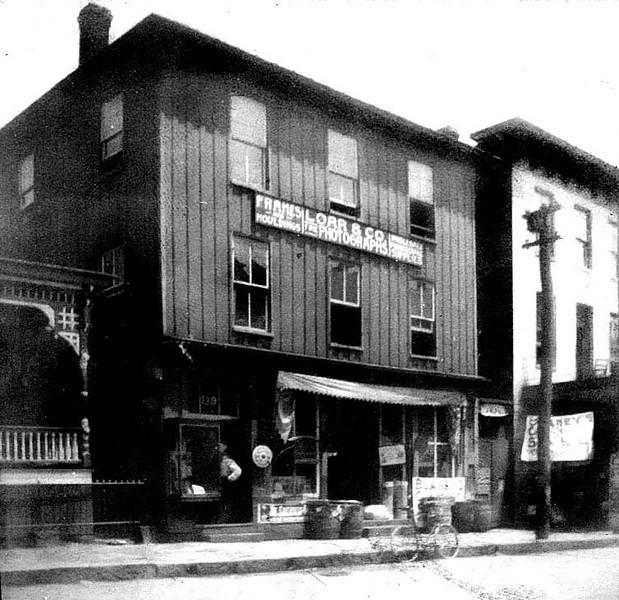 ca. 1900 - Outside of Loar & Co. Photography Studio in Grafton, W. Va. 'Loar family moved from Fetterman, 1896.'  Studio on 2nd floor, lived on 3rd floor 1890-1902.