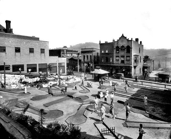 People playing miniature golf at a course on Latrobe Street in Grafton, West Virginia. Later the site of the Pure Oil Gas Station.