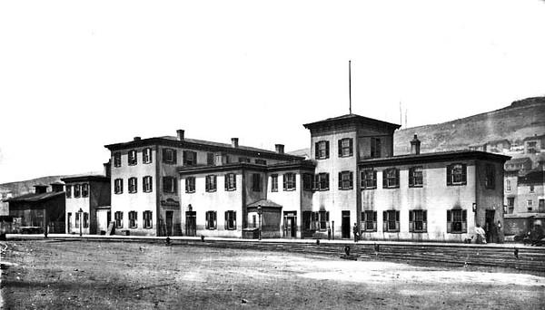 ca. 1890 - B&O Hotel in Grafton, W. Va. Train tracks in front of the hotel.