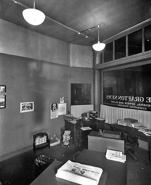 The interior of the Grafton News Office in Grafton, West Virginia.