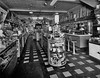 Interior view of Malone's Drug Store with soda fountain on Main Street in Grafton, W.Va.