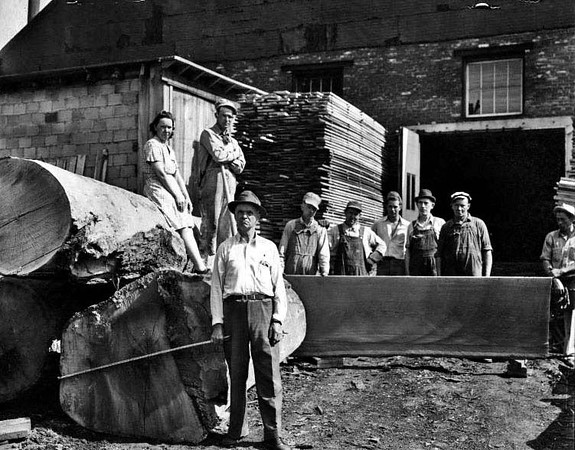 Employees outside at the Lumber Yard (Woodyards) on West Main Street (Fetterman) in Grafton, West Virginia.