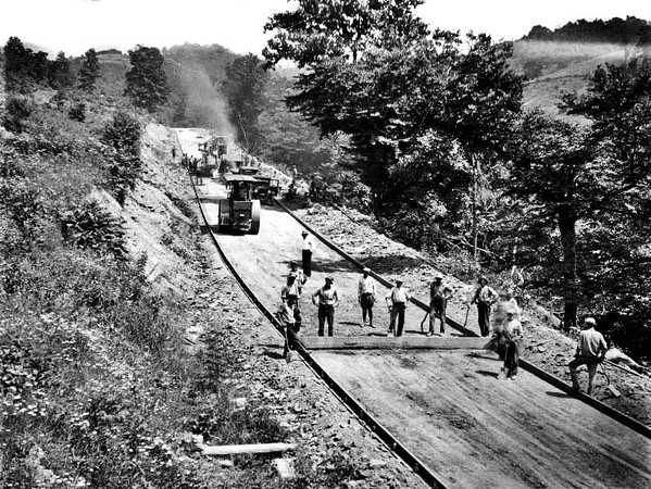 Cole Brothers Construction Crew Working on a Road near Grafton, W. Va.<br /> Date 1928