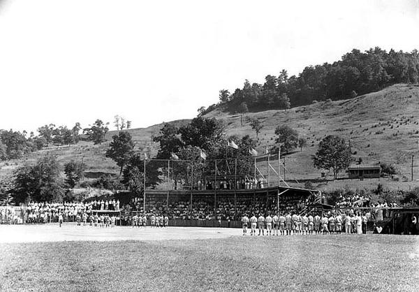 Baseball team members participate in a pre-game ceremony, Grafton, WV.