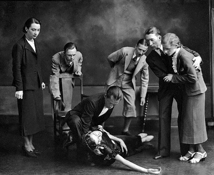 Theatrical Cast Members React to Woman Fainting, Grafton, W. Va.
