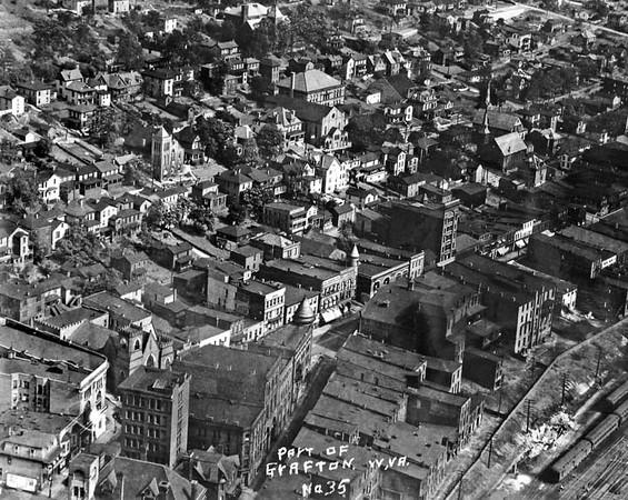 300-Aerial of DowntownGraftonWV1930-40s
