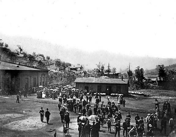 Crowd Gathered for an Unidentified Event at B&O roundhouse in Grafton, WV 1890's.