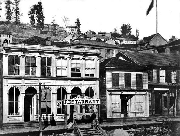 Oyster Bay Restaurant on Railroad Street in Grafton, W. Va.<br /> Date 1876
