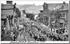 Parade marches down the street for the I.O.O.F Decoration in Grafton, WV 1887.