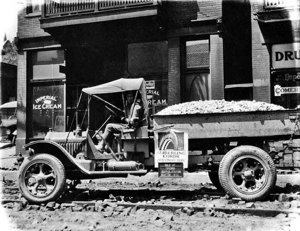 Truck in front of the Imperial Ice Cream Company, Grafton, W. Va.<br /> Date 1923