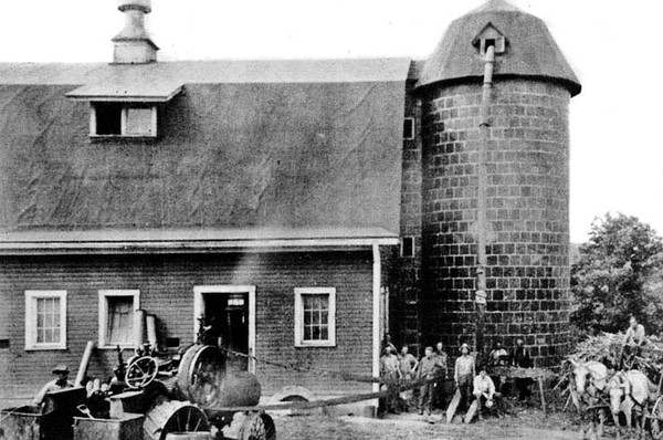 Working by a Barn, Industrial School for Boys, Grafton, W. Va.<br /> Date ca. 1925