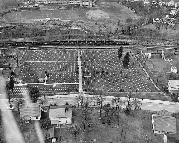 AERIAL VIEW OF CEMETERY AND ITS ENVIRONS. PHOTOGRAPH 12 JANUARY 1962. NCA HISTORY COLLECTION. - Grafton National Cemetery, 431 Walnut Street, Grafton, Taylor County, WV