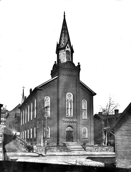 ca. 1890 - View of the front of Andrew's Methodist Church, now the International Mother's Day Shrine, in Grafton, West Virginia.