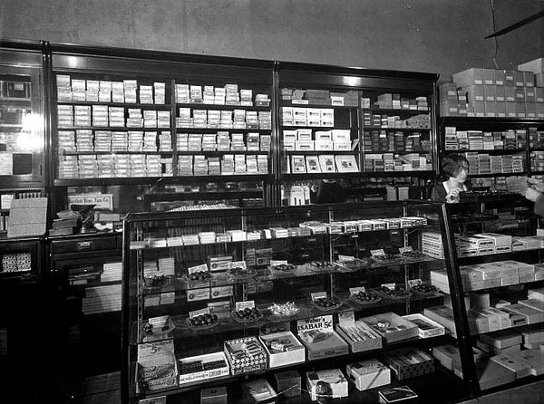 Candy and other display cases on the interior of C.G. Turner's Store in Grafton, WV 1924.
