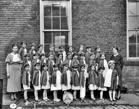 Members of the Children's Band of East Grafton School in Grafton, West Virginia, pose for a group portrait.