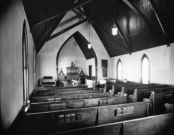 The interior of St. Matthias Episcopal Church building on Main Street, Grafton, West Virginia.