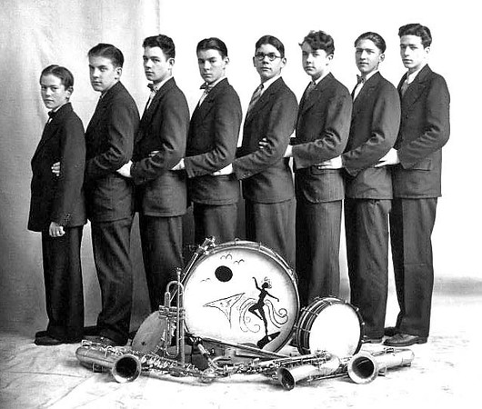 Members of an unidentified band in Grafton, West Virginia, pose for a portrait with their instruments