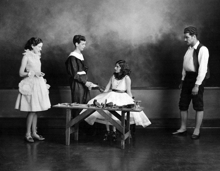 """""""Pierrot & Pierrette""""<br />  GHS 1933-1934 stage play presented by Ms. Grace Loar's English/Thespian Group. <br /> Hilda Mahaney (far left)<br />  Charles E Marshall, Jr. (middle)<br />  Georgianna Bennett (middle - sitting)<br />  Jim Silcott (far right)"""