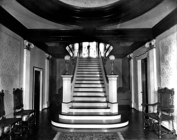 Interior view of the Bartlett Home in Grafton, W. Va., showing the main staircase