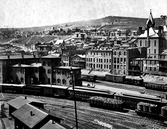 View of Grafton, W. Va. showing railroad yards and various buildings. Including pool room and saloon.<br /> Date ca. 1890