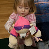 Eve holding her new Big Sister teddy