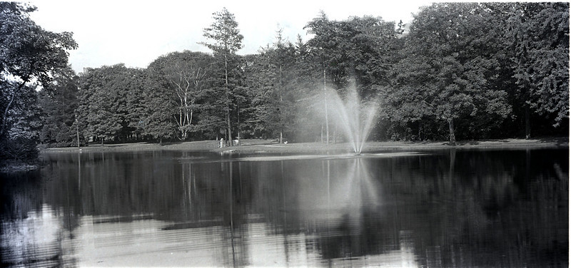 This fountain picture was taken about 1915.  It's from a glass plate negative.  The site is North (now Burncoat) Park, Worcester, MA.  - photo by H.J. Flad