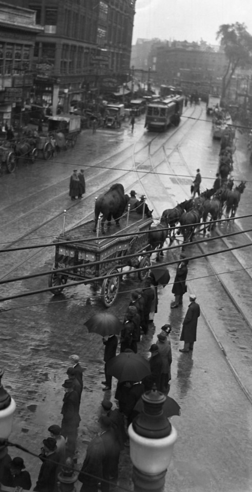Worcester, Massachusetts, June 9, 1916, looking North on Main Street from the junction of Main and Southbridge Streets. Buffalo Bill Parade after the rain started.