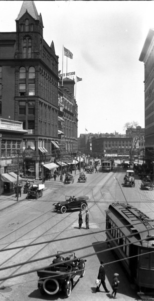Worcester, Massachusetts, June 9, 1916, looking North on Main Street from the junction of Main and Southbridge Streets.