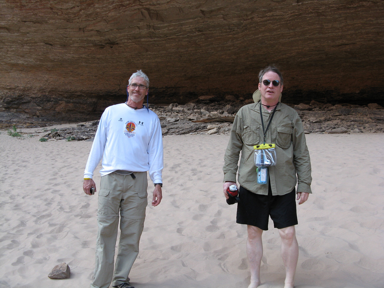 Glenn and Richard standing in the softest sand in the canyon at Redwall Cavern.
