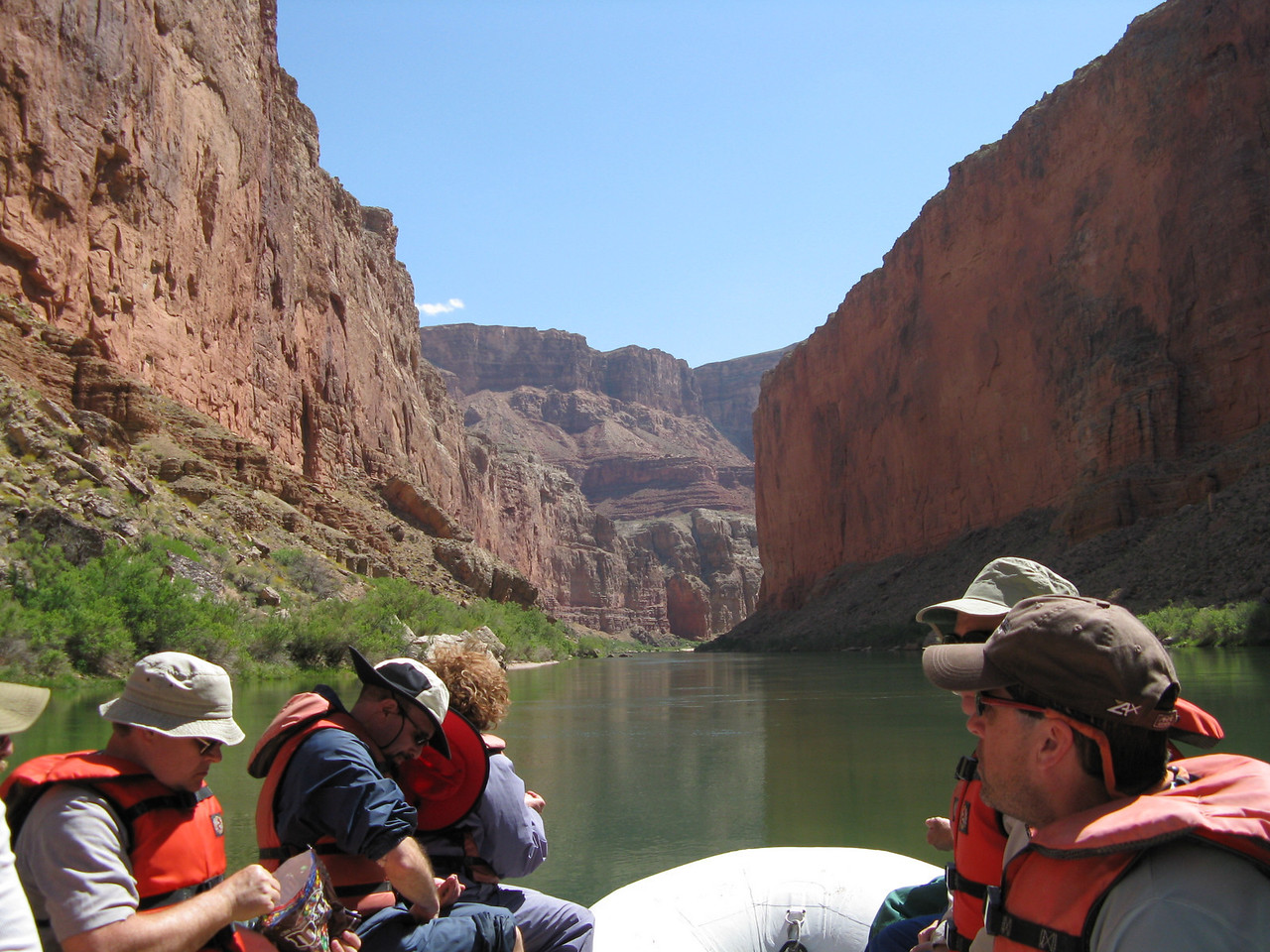 About mile 42:  After our hike at Royal Arches, we continue floating through Marble Canyon on flat green water.