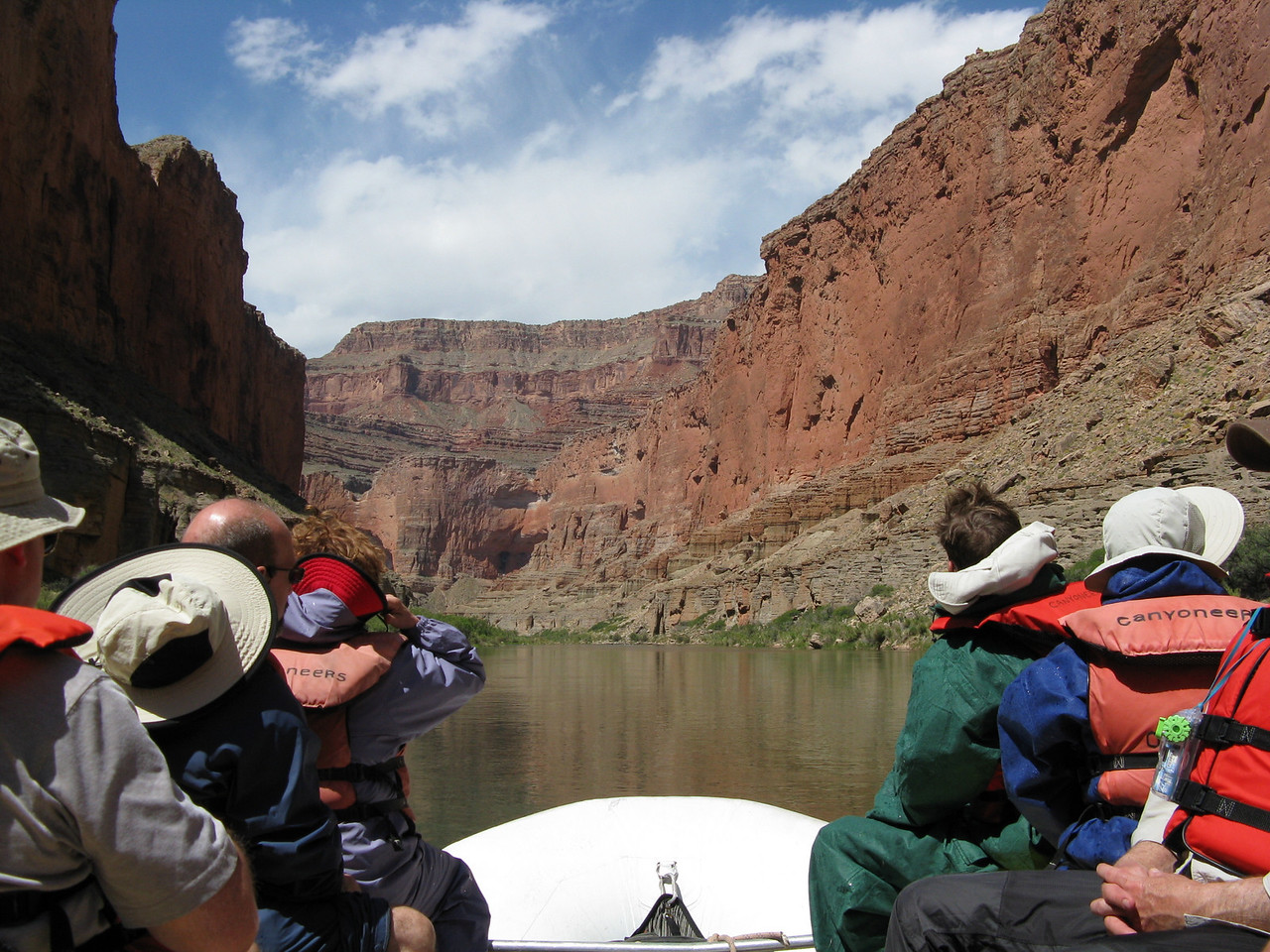 Flat water in the steep canyon.  One of the Triple Alcoves in the distance.