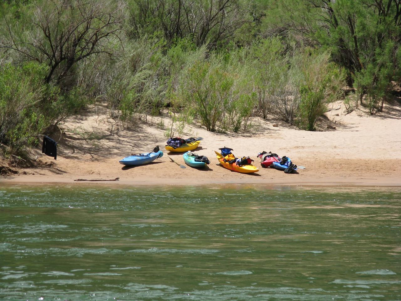 Kayaks on the beach.