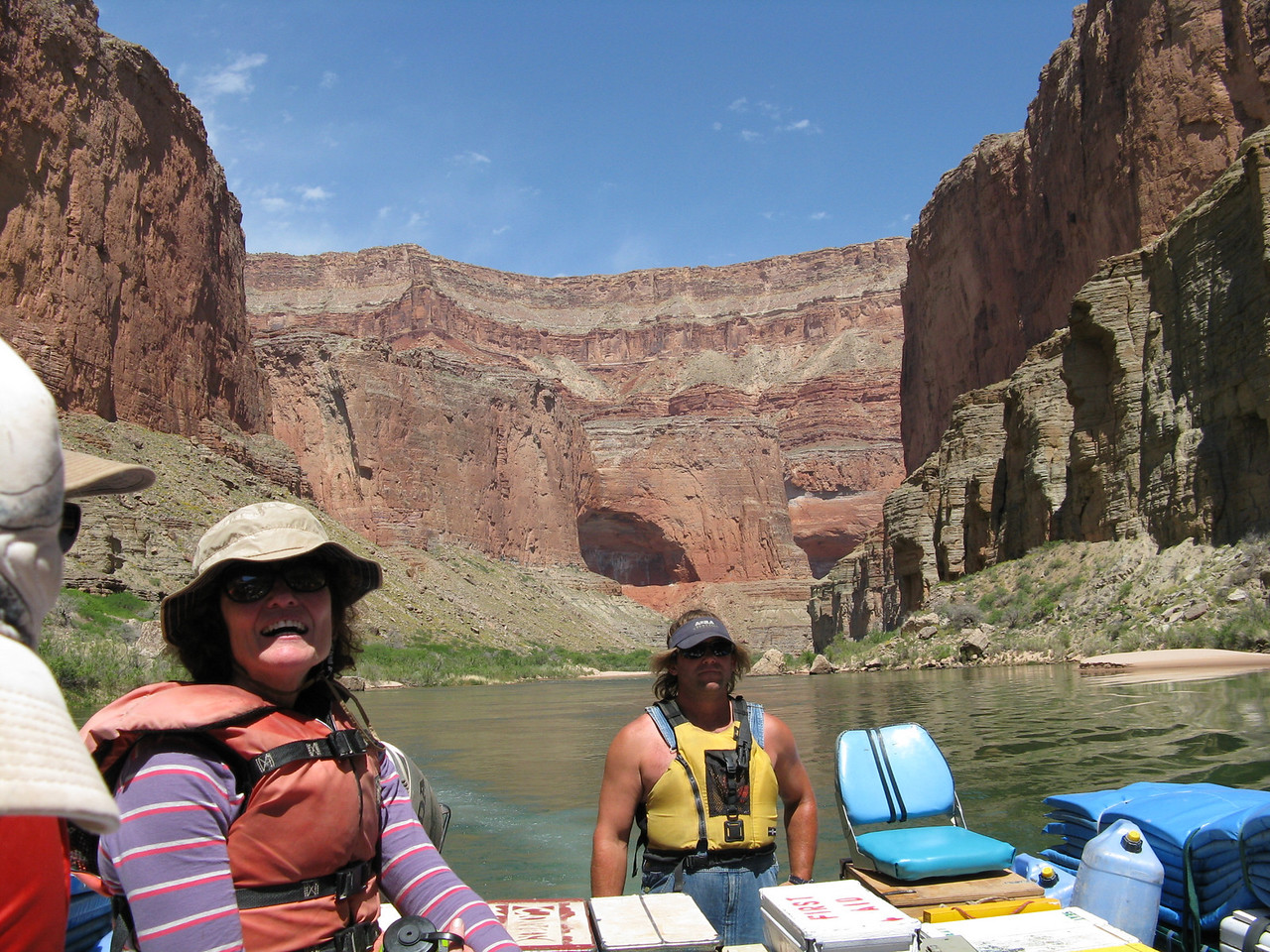 About mile 47.5: An upriver view with one of the Triple Alcoves in the background.
