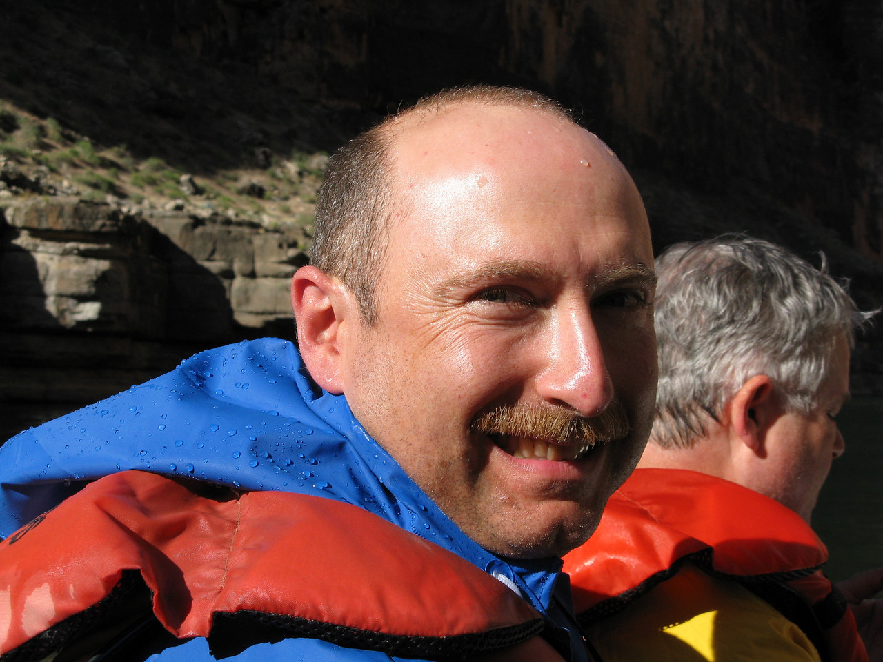 Another happy rafter!  Dariusz got wet, too.  Note the water on his forehead.