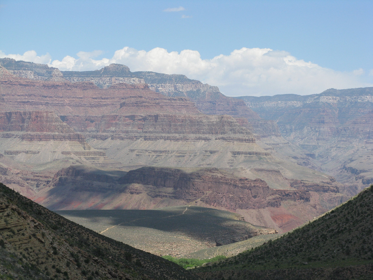 The shadows of the clouds dance about in the canyon.
