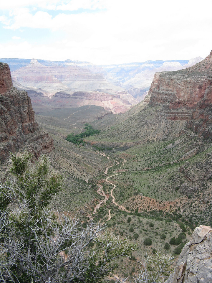Bright Angel Trail and Indian Garden in the center of the picture, Looking back from the point beyond 3 Mile Resthouse.