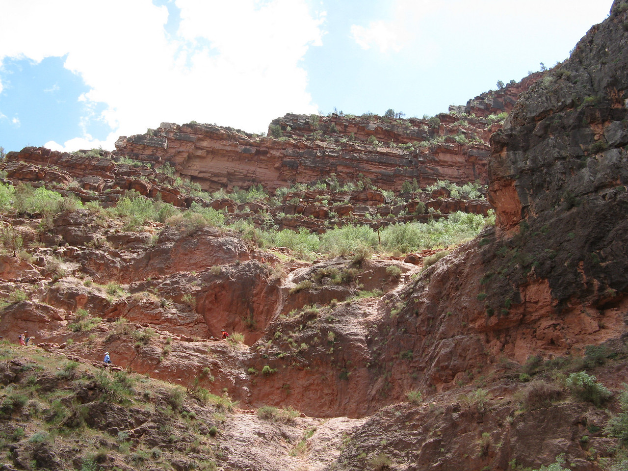 The trail near the Redwall Limestone.  The layer below the Redwall is called Muav Limestone.