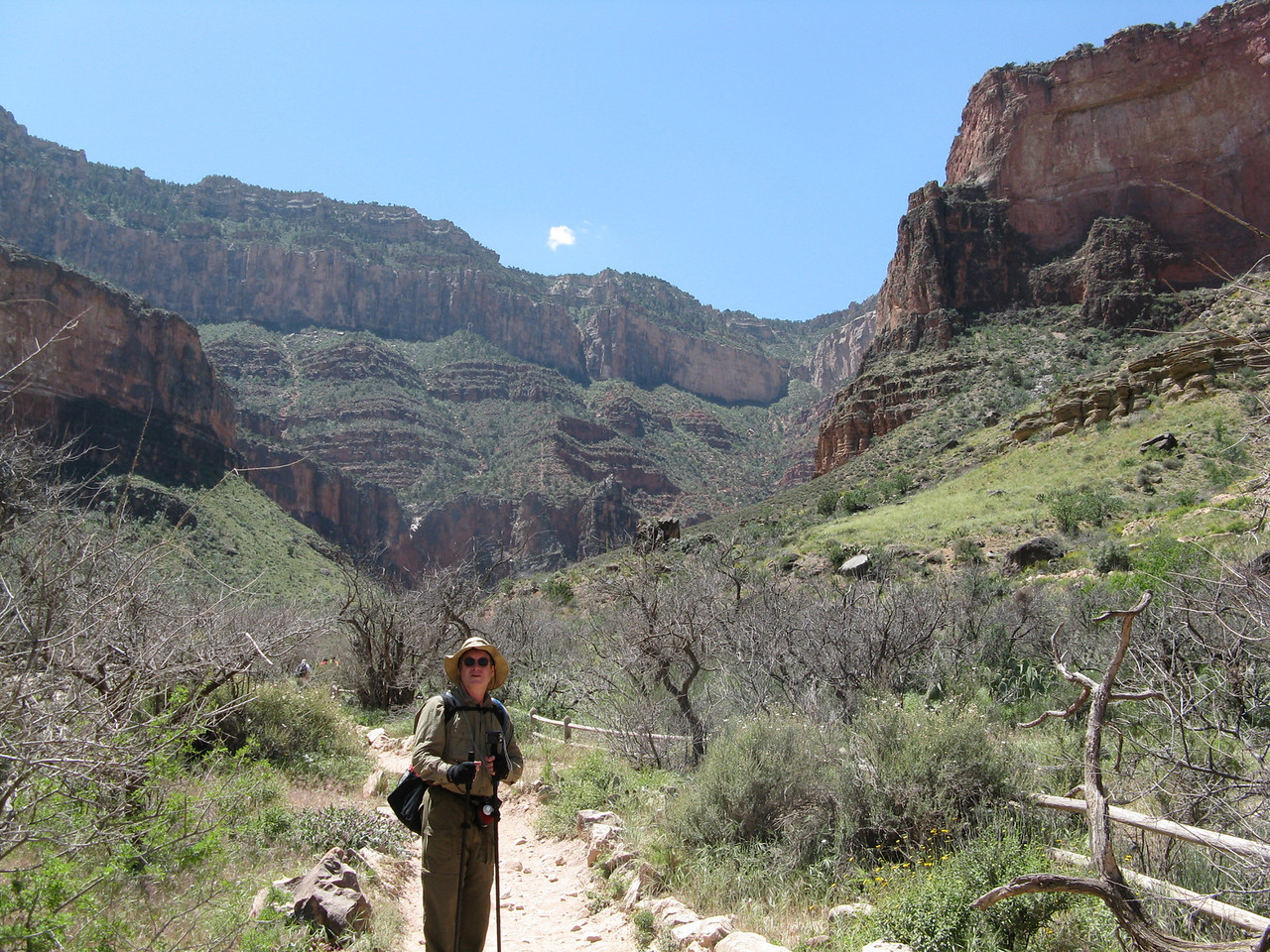 After lunch in Indian Garden, we went different directions.  Glenn, Jeff and Dariusz headed out to Plateau Point and back. Wendell started climbing the trail far ahead of us.  Richard and I sauntered up the path.