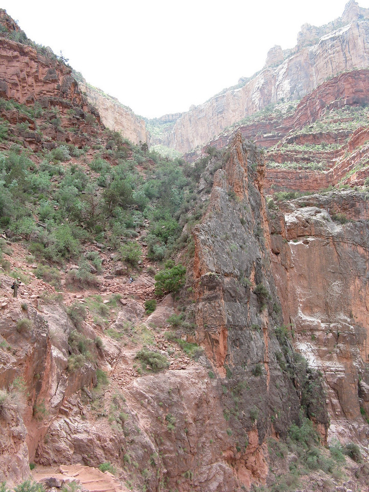 The gap in the Redwall cliffs where the trail slips through.