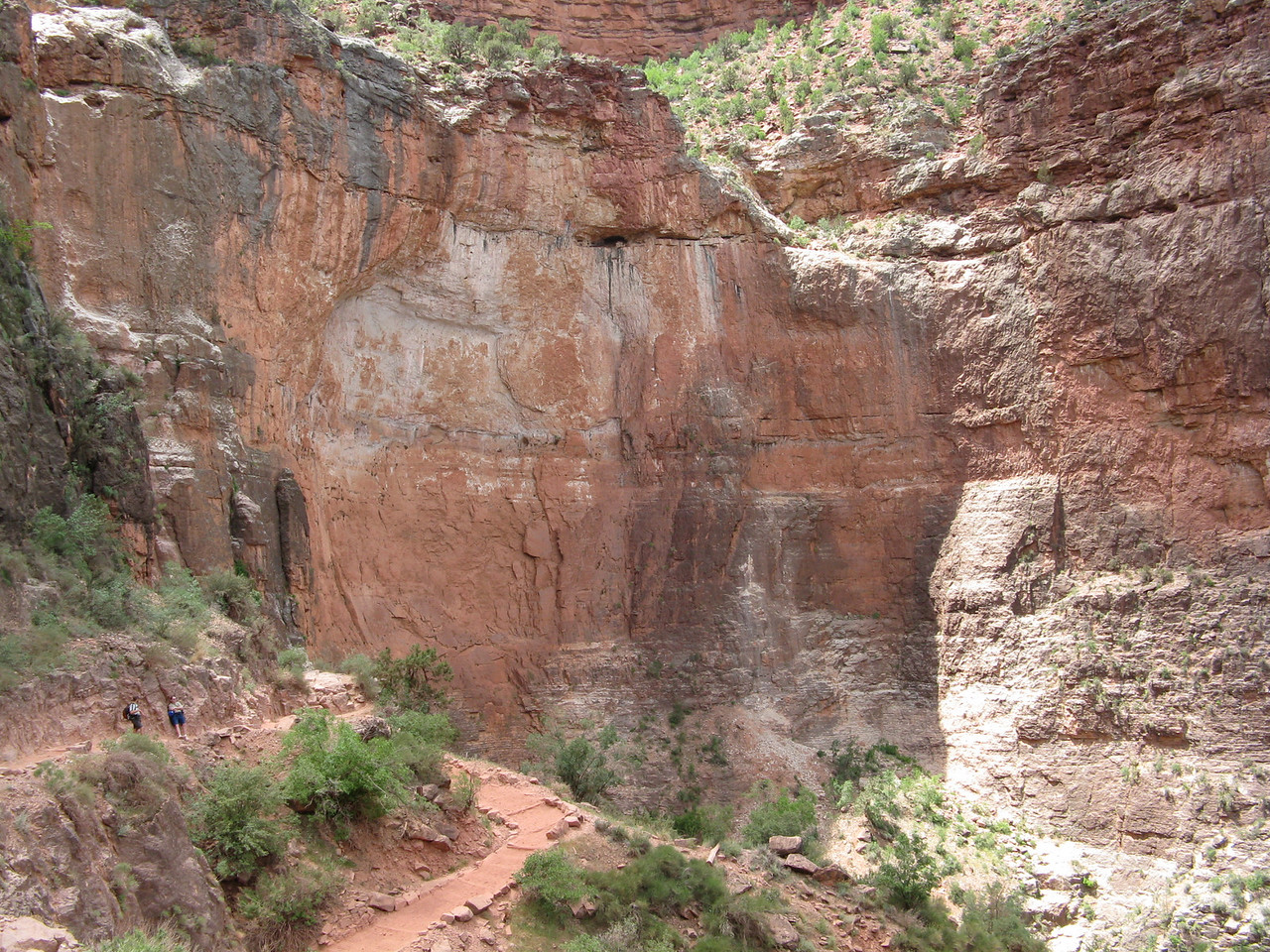 We climbed Jacobs Ladder.  The Bright Angel Trail is one of the few places where there is a natural gap in the Redwall Limestone cliffs that surround the Grand Canyon on both the north and south  rims.  There is a fault, called the Bright Angel Fault, which creates the gap.  The trail zigzags on switchbacks up through the gap.