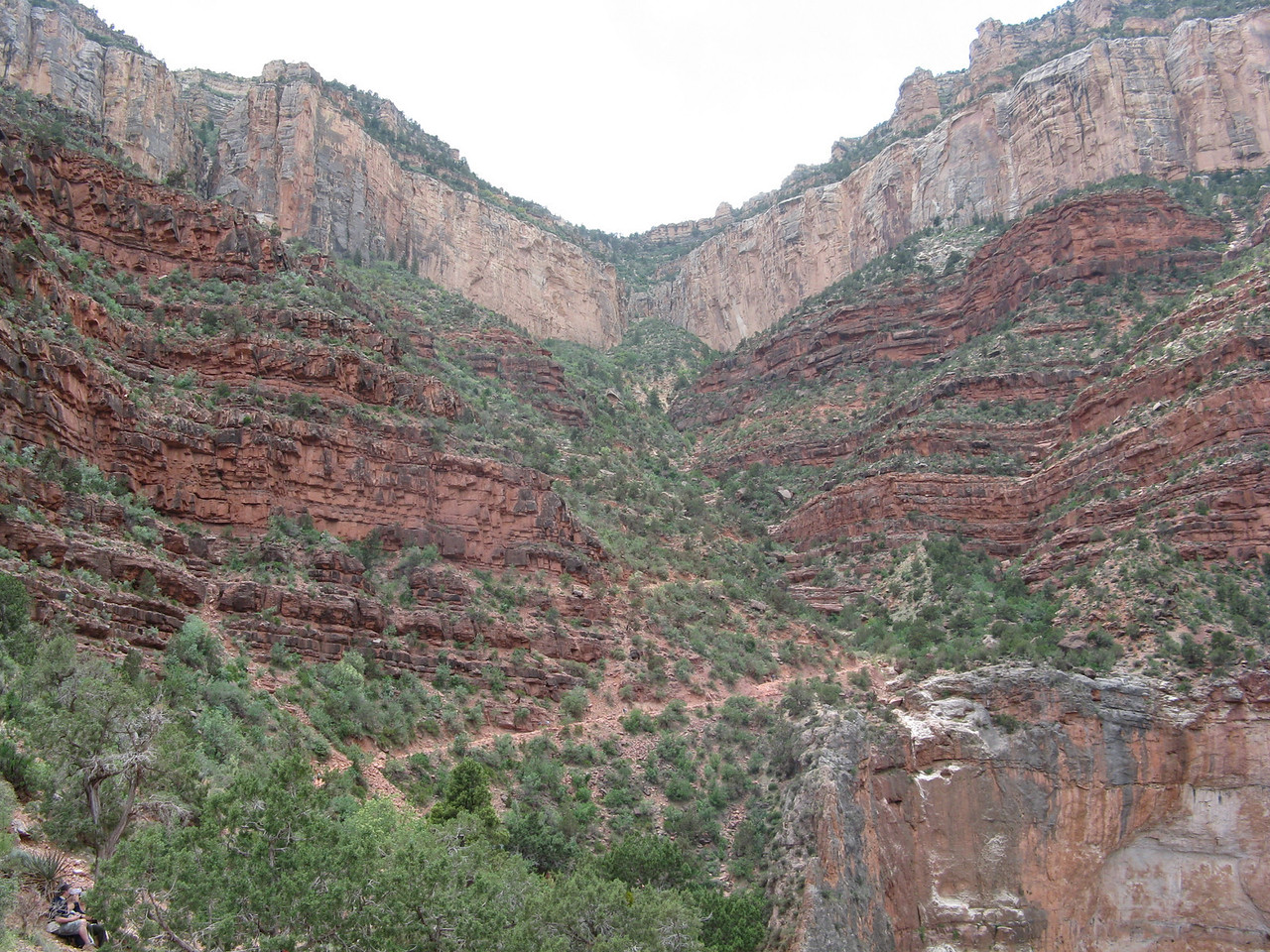 The cliffs at the top of the picture are Coconino sandstone, in the middle of the picture are the layers of the Supai Group, in the bottom right is part of the Redwall Limestone.  The Redwall Limestone cliffs on the west side of the fault are probably more than 100 feet higher than the cliffs on the east side of the fault.
