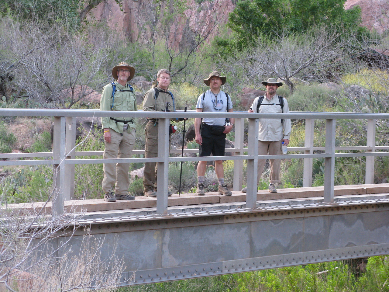 We crossed the lower bridge over Bright Angel Creek on the way to the Silver Bridge. (L to R) Glenn, Richard, Dariusz and Jeff.