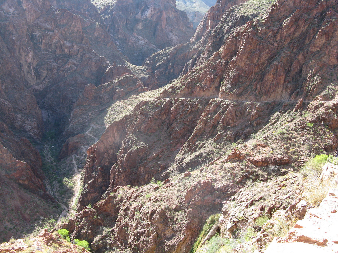 Looking back at the Devil's Corkscrew from above.  The switchbacks in the left lower quadrant are the corkscrew.  The trail across the rock face on the right side of the picture takes us out of the inner gorge of the canyon.