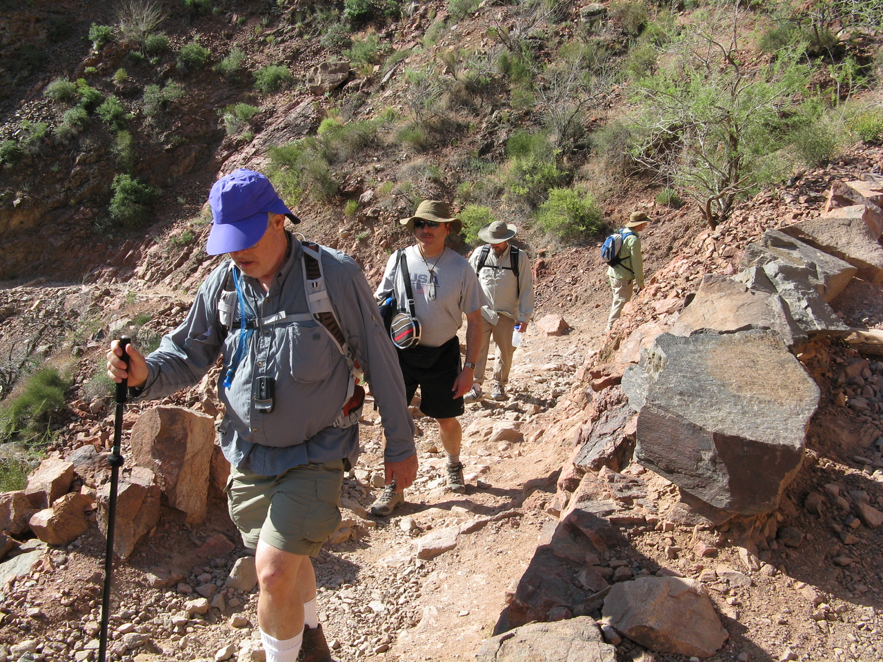 The trail is steep as it climbs out of the inner gorge of the Grand Canyon.  (Front to back) Wendell, Dariusz, Jeff and Glenn.